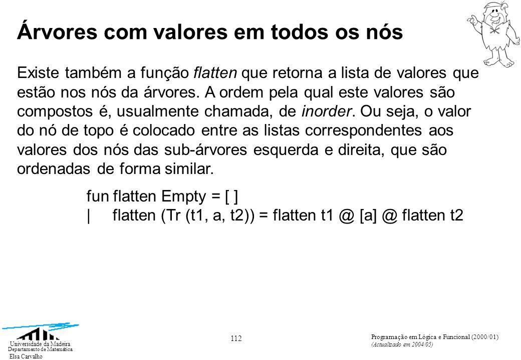 Elsa Carvalho 113 Universidade da Madeira Departamento de Matemática Programação em Lógica e Funcional (2000/01) (Actualizado em 2004/05) Se pretendermos uma ordem diferente para os valores da lista podemos definir as funções: fun preorder Empty = [ ] | preorder (Tr (t1, a, t2)) = [a] @ preorder t1 @ preorder t2 fun postorder Empty = [ ] | postorder (Tr (t1, a, t2)) = postorder t1 @ postorder t2 @ [a] Árvores com valores em todos os nós