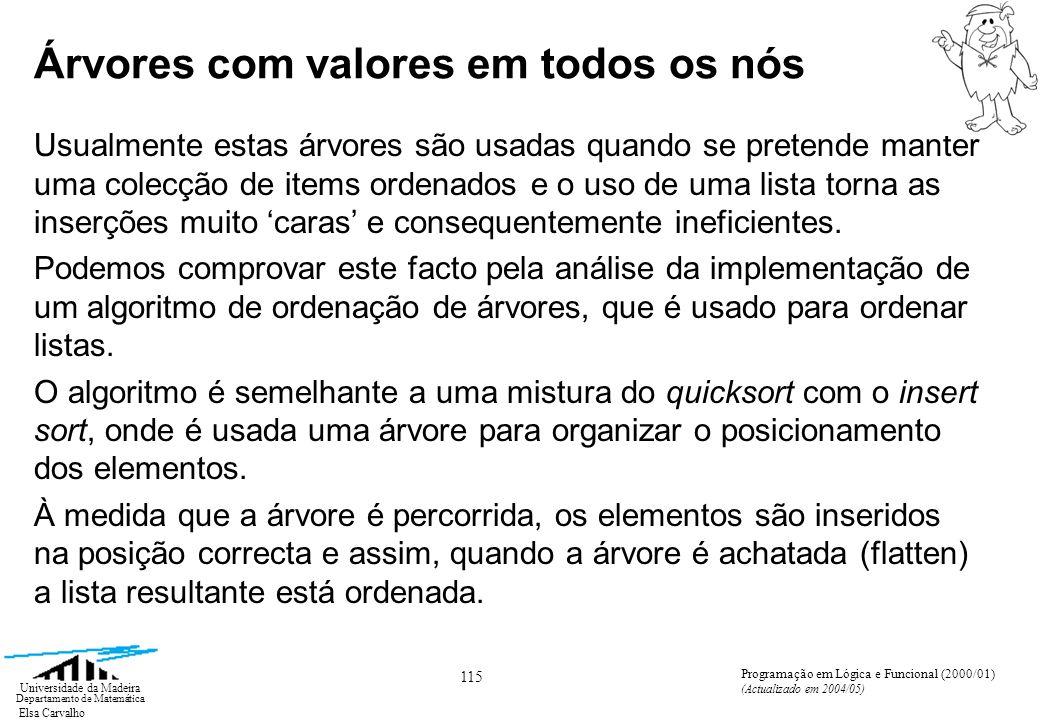 Elsa Carvalho 126 Universidade da Madeira Departamento de Matemática Programação em Lógica e Funcional (2000/01) (Actualizado em 2004/05) Notação ZF para listas Para traduzir (expandir) listas na notação ZF para ML, basta compreender o significado da referida notação.