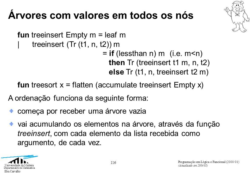 Elsa Carvalho 127 Universidade da Madeira Departamento de Matemática Programação em Lógica e Funcional (2000/01) (Actualizado em 2004/05) Notação ZF para listas Generalizando, para encontrar a correspondente em ML da expressão [E | V 1 E 1 ; V 2 E 2 ;...; V n E n ] basta notar que esta expressão é quase equivalente a (fixando V 1 ) [[E | V 2 E 2 ;...; V n E n ] | V 1 E 1 ] mas como esta expressão forma uma lista de listas, se utilizarmos a função link obtemos uma expressão exactamente equivalente à primeira: link [[E | V 2 E 2 ;...; V n E n ] | V 1 E 1 ]