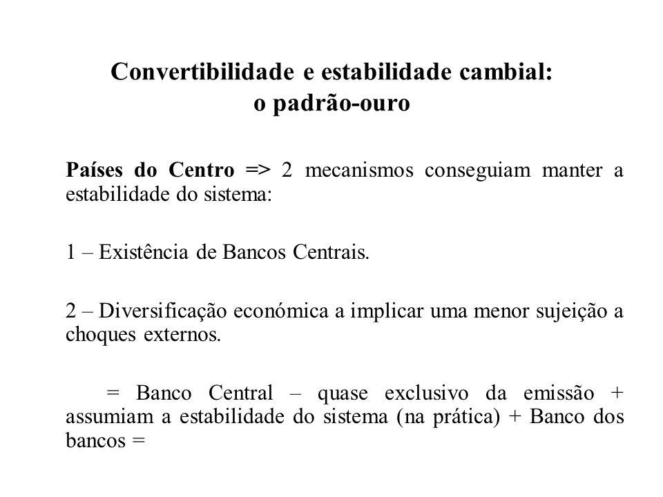 Convertibilidade e estabilidade cambial: o padrão-ouro Países do Centro => 2 mecanismos conseguiam manter a estabilidade do sistema: 1 – Existência de