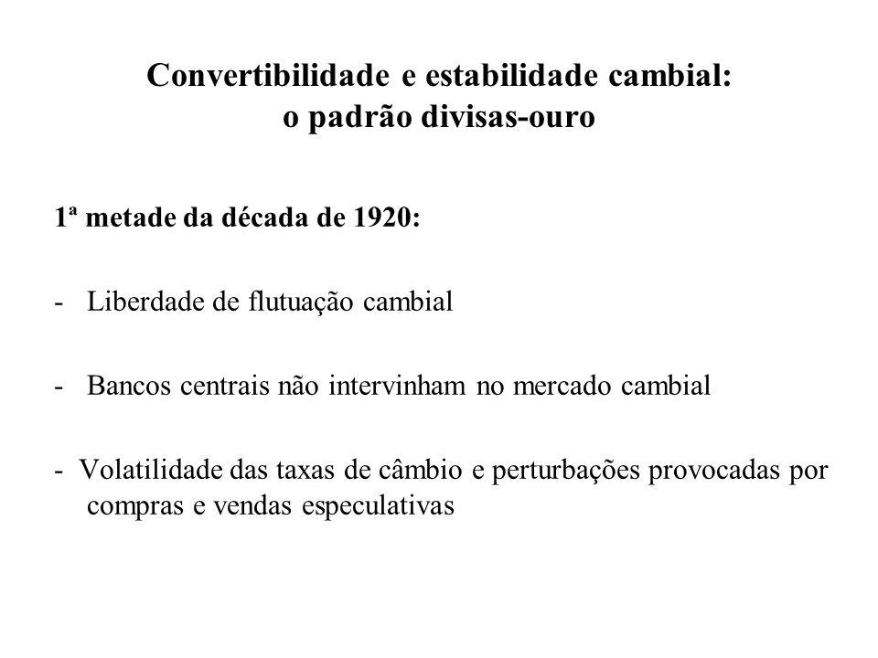 Convertibilidade e estabilidade cambial: o padrão divisas-ouro 1ª metade da década de 1920: -Liberdade de flutuação cambial -Bancos centrais não inter