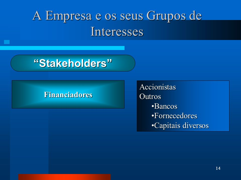 14 Financiadores A Empresa e os seus Grupos de Interesses AccionistasOutros BancosBancos FornecedoresFornecedores Capitais diversosCapitais diversos S
