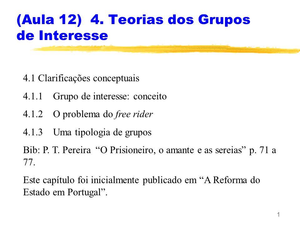 11 4.2 Interesses e poder político Qual o efeito dos grupos de interesse nas políticas.