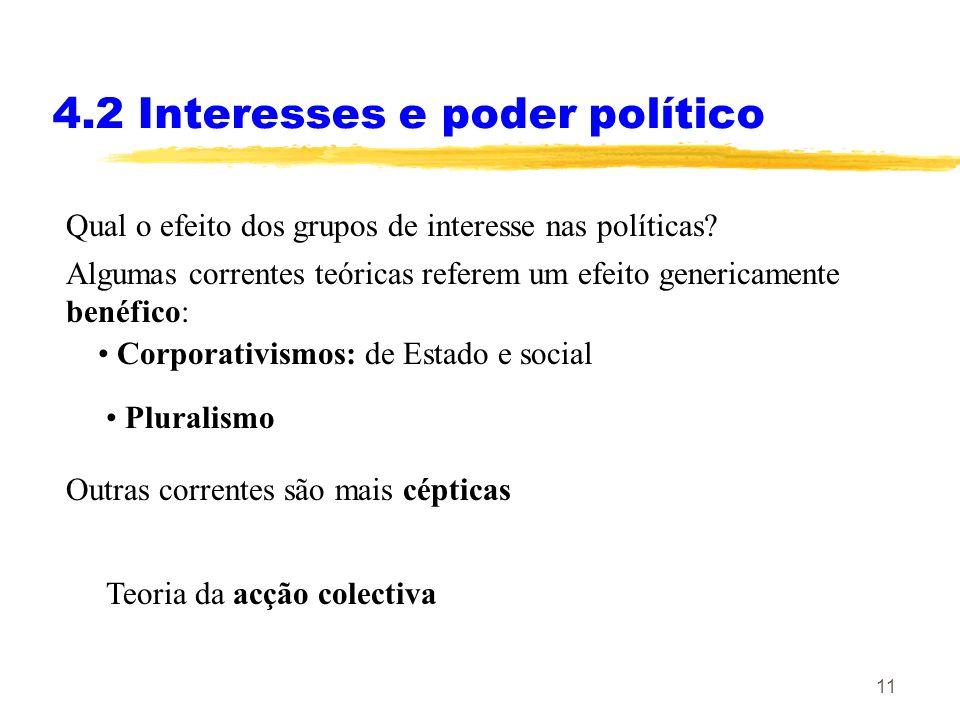 10 (Aula 13) 4. Interesses e poder político 4.2 Interesses e poder político: abordagens optimistas 4.2.1 Corporativismos 4.2.2 Pluralismo 4.3 Interess