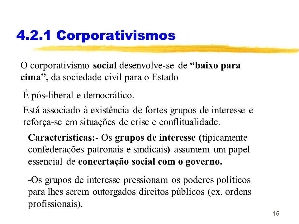 14 4.2.1 Corporativismos O corporativismo estatal desenvolve-se de cima para baixo, do Estado para a sociedade civil. Está associado a regimes autorit