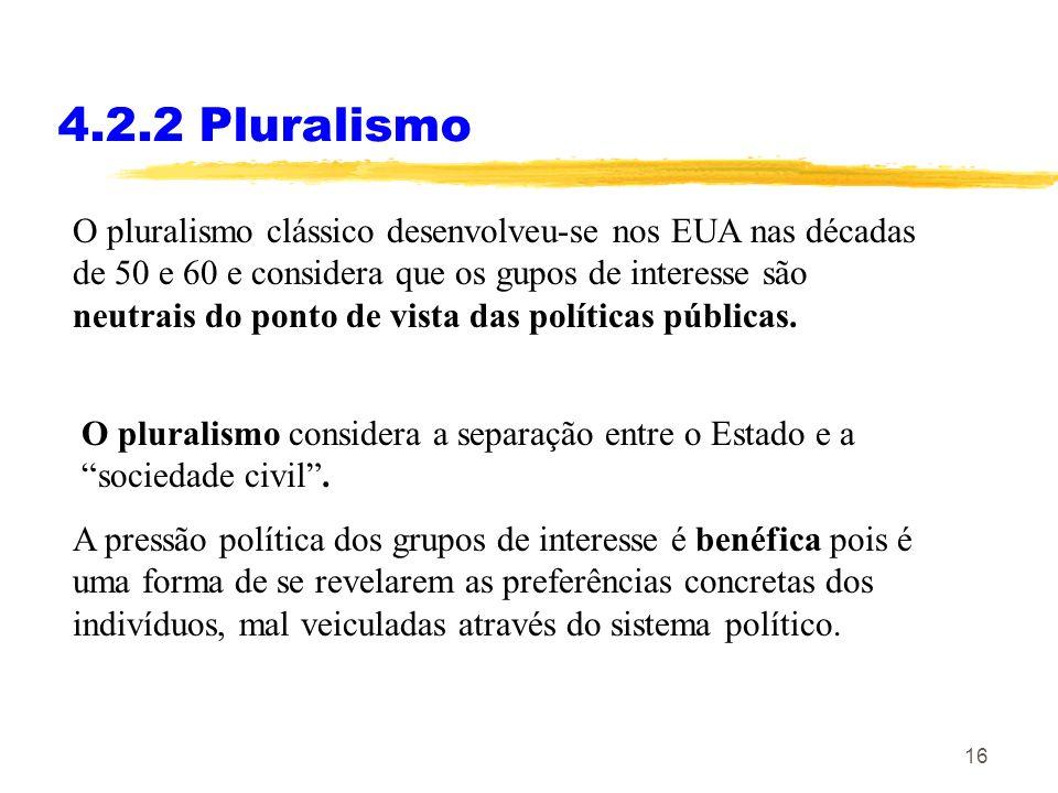 15 4.2.1 Corporativismos O corporativismo social desenvolve-se de baixo para cima, da sociedade civil para o Estado É pós-liberal e democrático. Carac