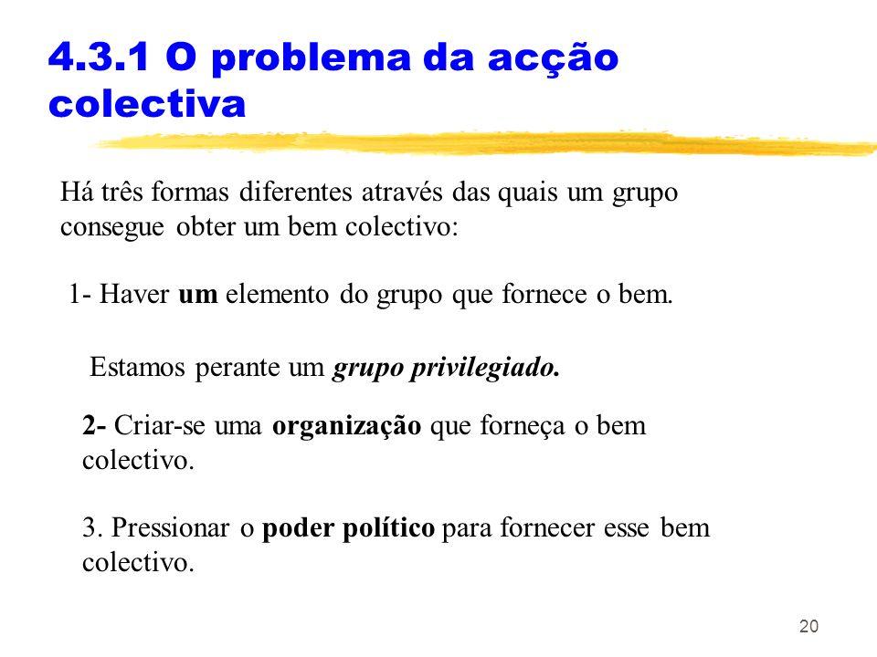 19 4.3 Interesses e poder político: cepticismo e crítica Exemplos de bens colectivos: Melhores salários, para trabalhadores de uma profissão. Preços d