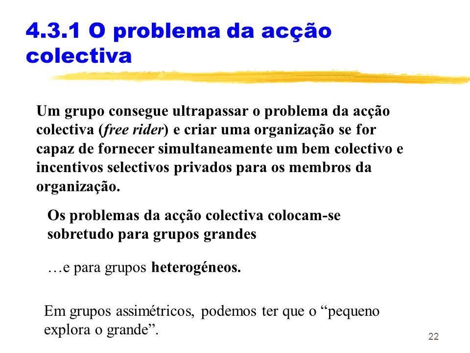 21 4.3.1 O problema da acção colectiva Quando se cria uma organização?: A Diferença entre grupos pequenos e grandes. A capacidade (ou não) da organiza