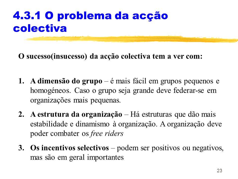 22 4.3.1 O problema da acção colectiva Um grupo consegue ultrapassar o problema da acção colectiva (free rider) e criar uma organização se for capaz d