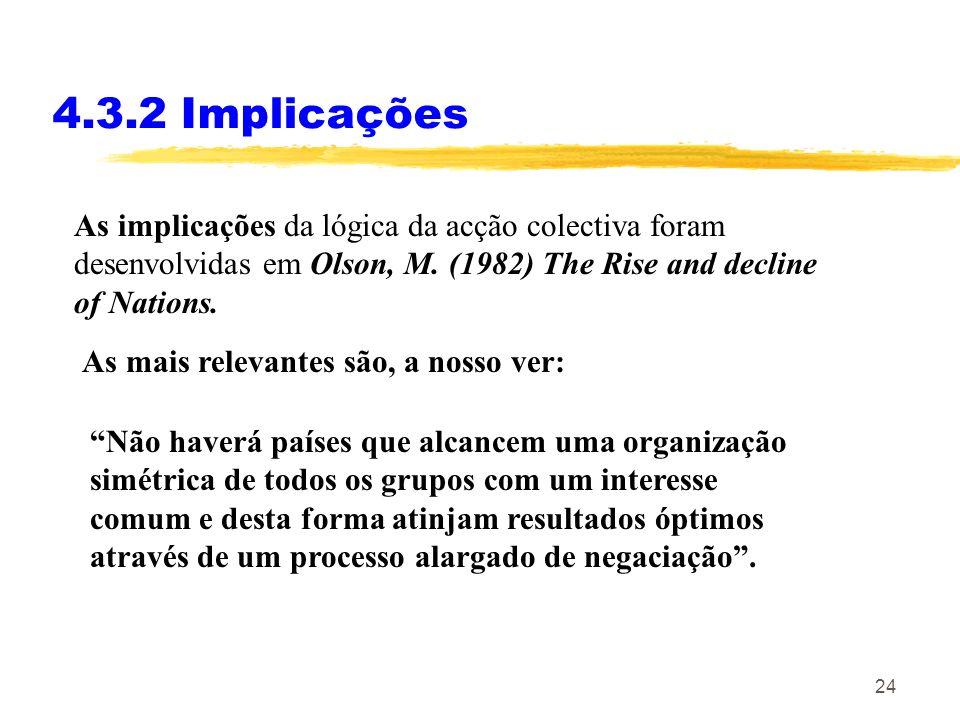 23 4.3.1 O problema da acção colectiva O sucesso(insucesso) da acção colectiva tem a ver com: 1.A dimensão do grupo – é mais fácil em grupos pequenos