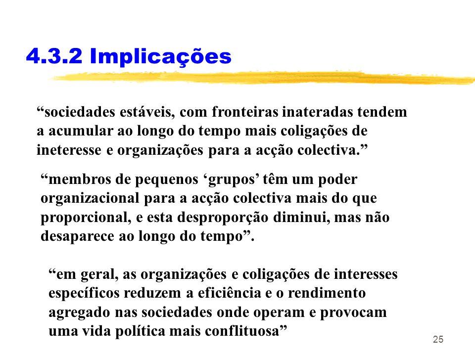 24 4.3.2 Implicações As implicações da lógica da acção colectiva foram desenvolvidas em Olson, M. (1982) The Rise and decline of Nations. As mais rele