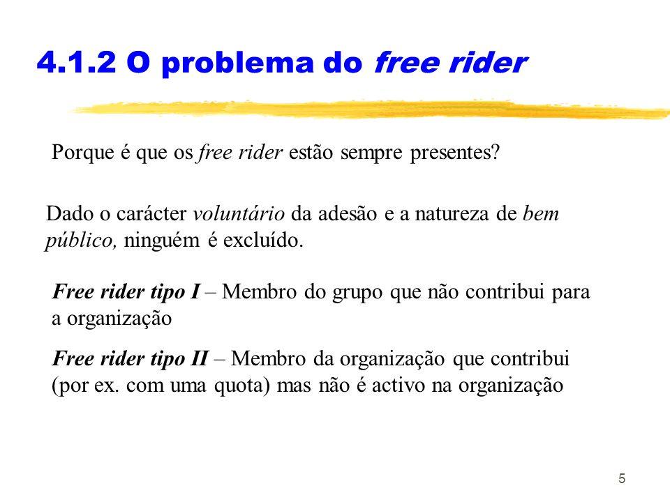 5 4.1.2 O problema do free rider Porque é que os free rider estão sempre presentes.