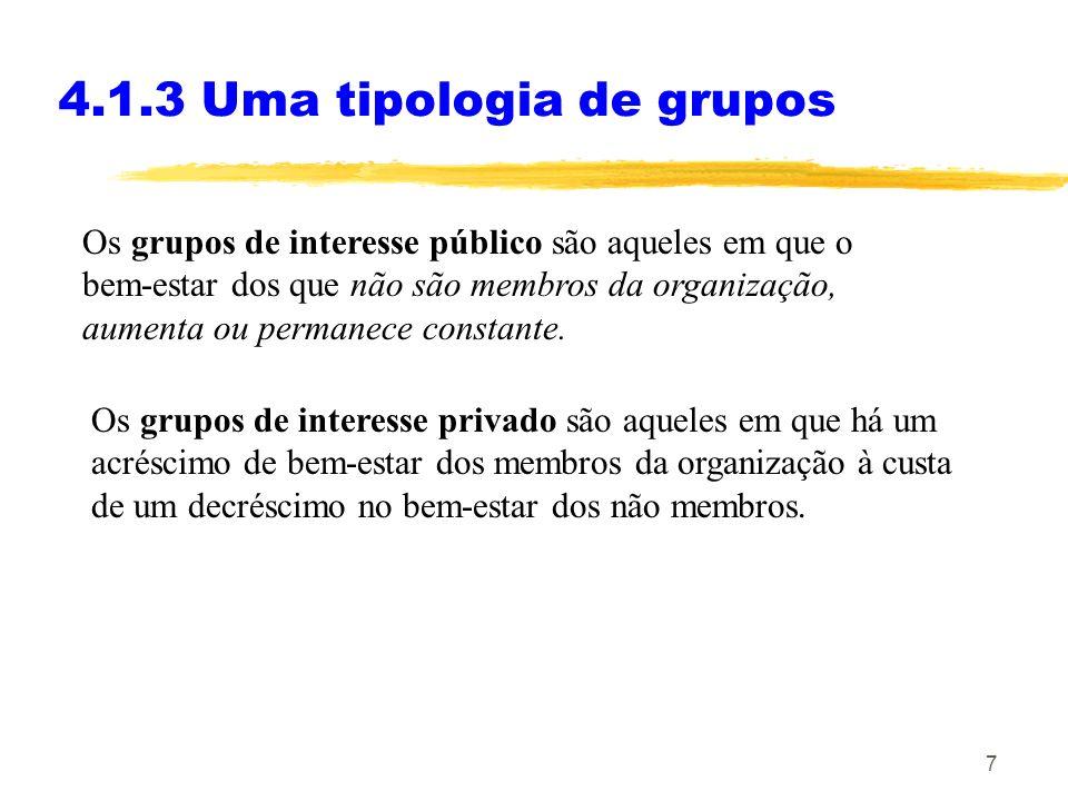 7 4.1.3 Uma tipologia de grupos Os grupos de interesse público são aqueles em que o bem-estar dos que não são membros da organização, aumenta ou permanece constante.