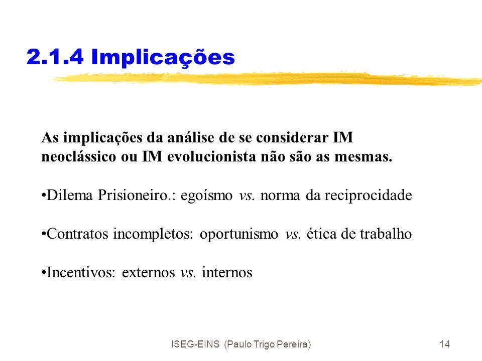 ISEG-EINS (Paulo Trigo Pereira)13 2.1.4 Implicações As implicações da análise de se considerar IM neoclássico ou IM evolucionista não são as mesmas. D