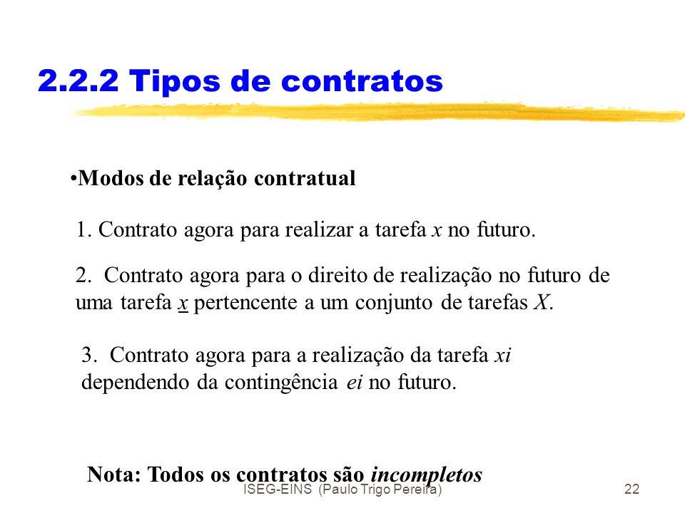 ISEG-EINS (Paulo Trigo Pereira)21 2.2.2 Tipos de contratos A transferência de direitos de propriedade entre agentes realiza-se através de contratos. O