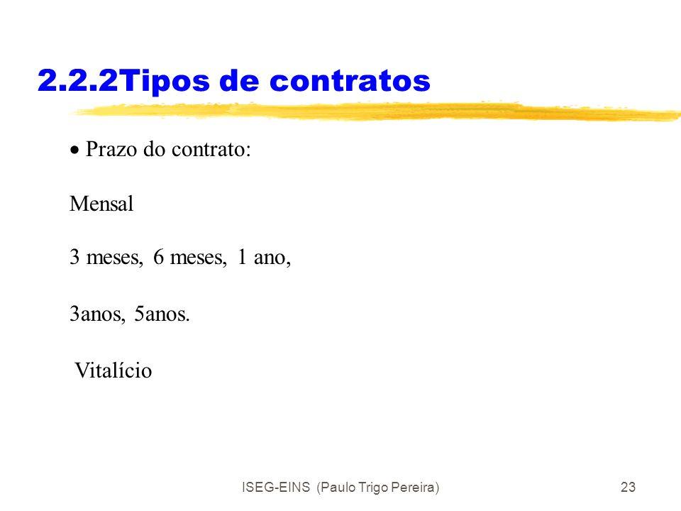 ISEG-EINS (Paulo Trigo Pereira)22 2.2.2 Tipos de contratos Modos de relação contratual 1. Contrato agora para realizar a tarefa x no futuro. 2. Contra
