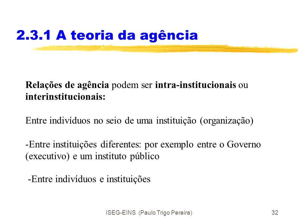 ISEG-EINS (Paulo Trigo Pereira)31 2.3.1 A teoria da agência Eggertson 40/41 Uma relação de agência estabelece-se quando um principal delega alguns dir