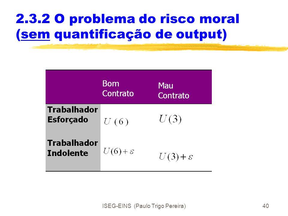 ISEG-EINS (Paulo Trigo Pereira)39 2.3.2 O problema do risco moral (com quantificação de output) Com informação simétrica e perfeita, o bom contrato se