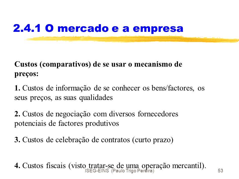 ISEG-EINS (Paulo Trigo Pereira)52 2.4.1 O mercado e a empresa Preliminares de Respostas: 1. Existem custos (e benefícios) de se usar o mecanismo dos p