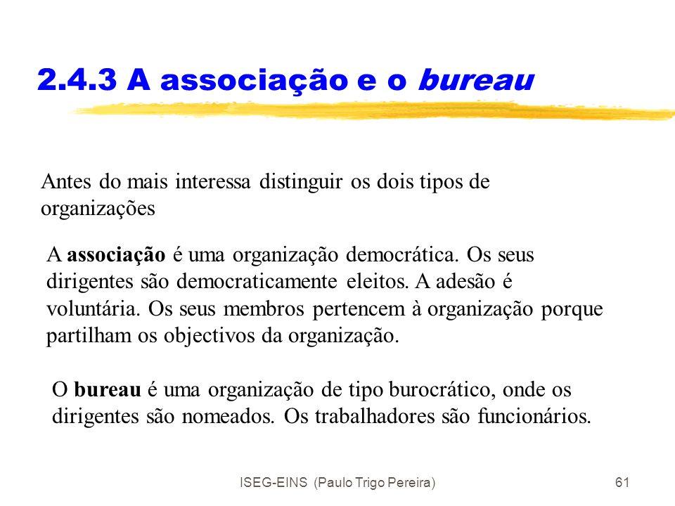 ISEG-EINS (Paulo Trigo Pereira)60 2.4.3 A associação e o bureau Muitas actividades de associações voluntárias e de organismos da administração pública