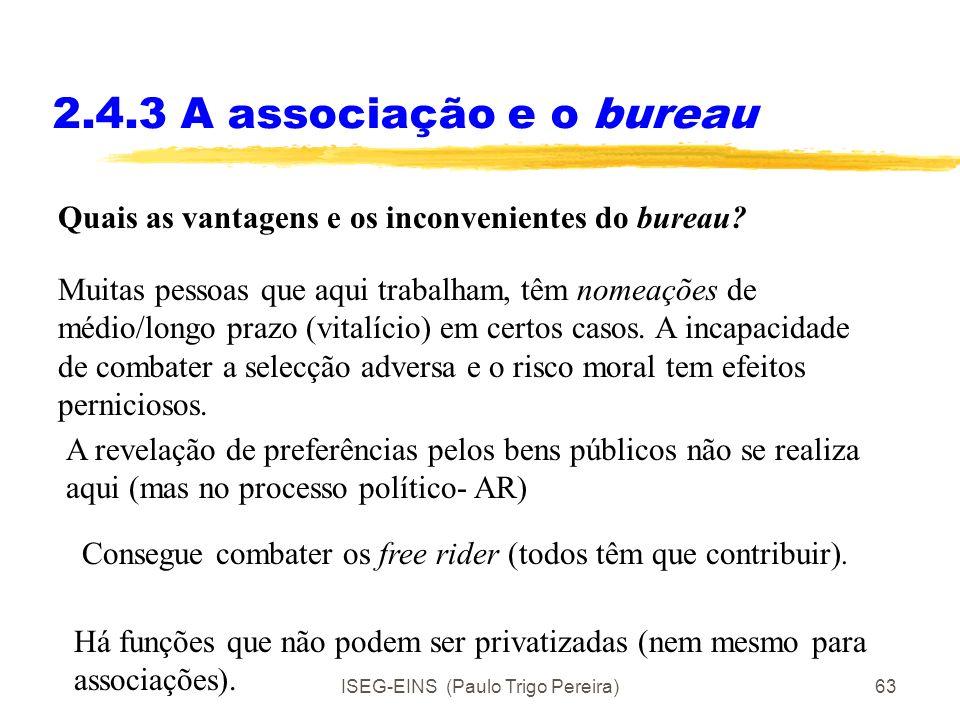 ISEG-EINS (Paulo Trigo Pereira)62 2.4.3 A associação e o bureau Quais as vantagens e os inconvenientes da associação voluntária? Há um problema com os