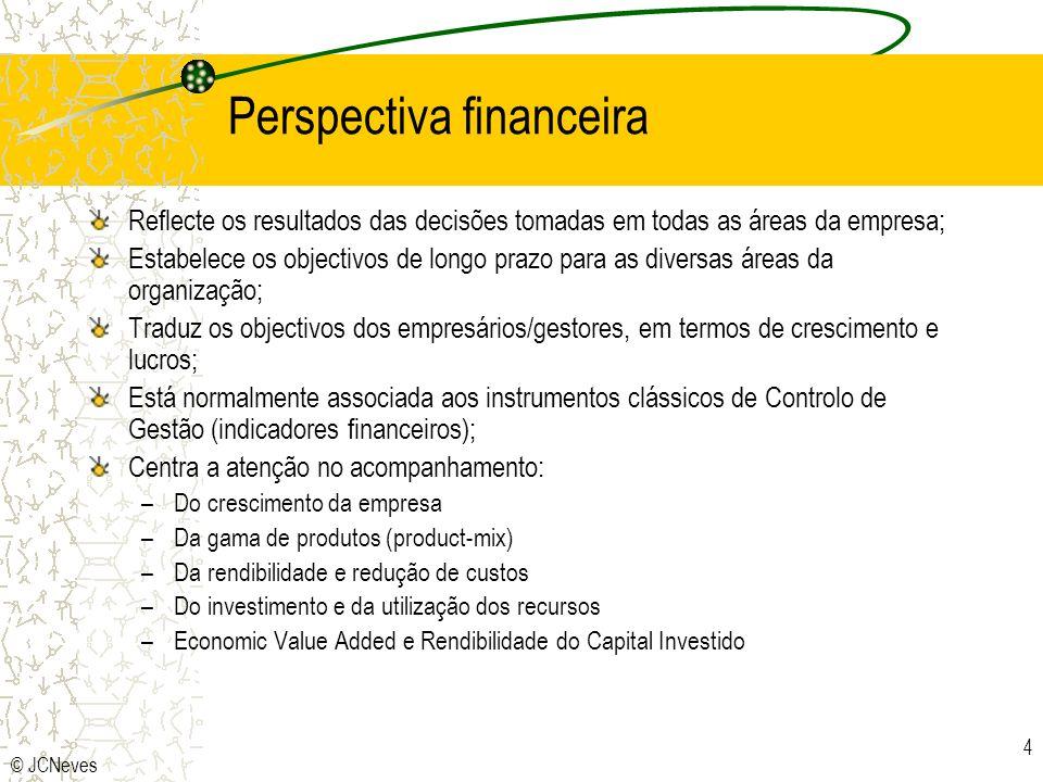 © JCNeves 4 Perspectiva financeira Reflecte os resultados das decisões tomadas em todas as áreas da empresa; Estabelece os objectivos de longo prazo p