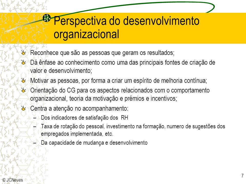 © JCNeves 7 Perspectiva do desenvolvimento organizacional Reconhece que são as pessoas que geram os resultados; Dá ênfase ao conhecimento como uma das