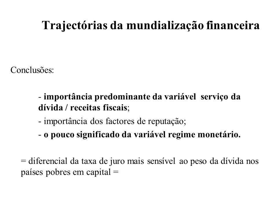 Trajectórias da mundialização financeira Conclusões: - importância predominante da variável serviço da dívida / receitas fiscais; - importância dos factores de reputação; - o pouco significado da variável regime monetário.