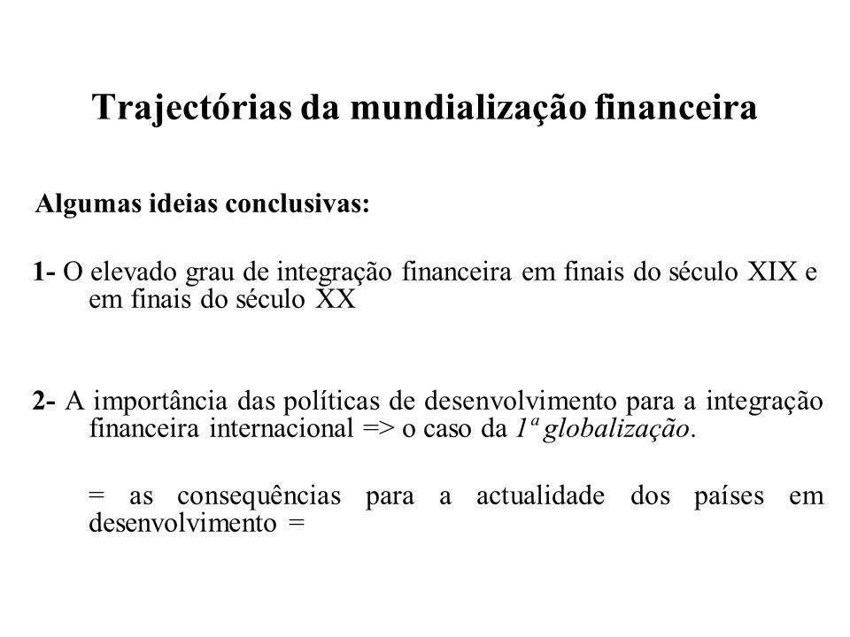 Trajectórias da mundialização financeira Algumas ideias conclusivas: 1- O elevado grau de integração financeira em finais do século XIX e em finais do