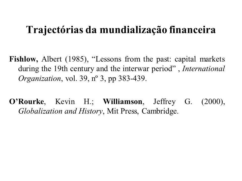 Trajectórias da mundialização financeira Fishlow, Albert (1985), Lessons from the past: capital markets during the 19th century and the interwar perio