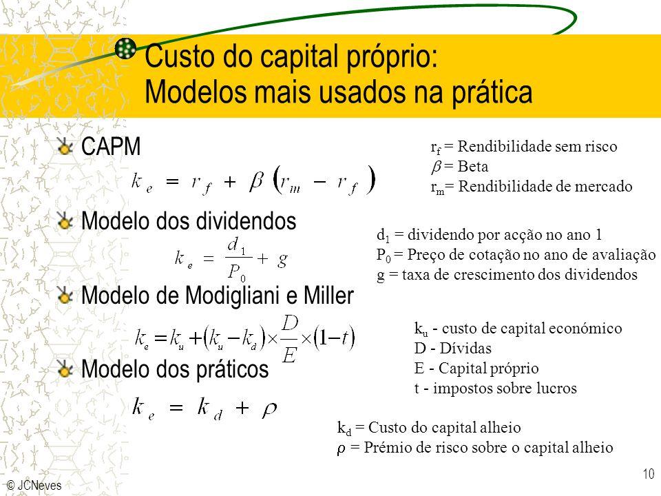 © JCNeves 10 Custo do capital próprio: Modelos mais usados na prática CAPM Modelo dos dividendos Modelo de Modigliani e Miller Modelo dos práticos r f