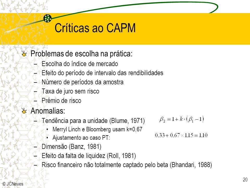 © JCNeves 20 Críticas ao CAPM Problemas de escolha na prática: –Escolha do índice de mercado –Efeito do período de intervalo das rendibilidades –Númer