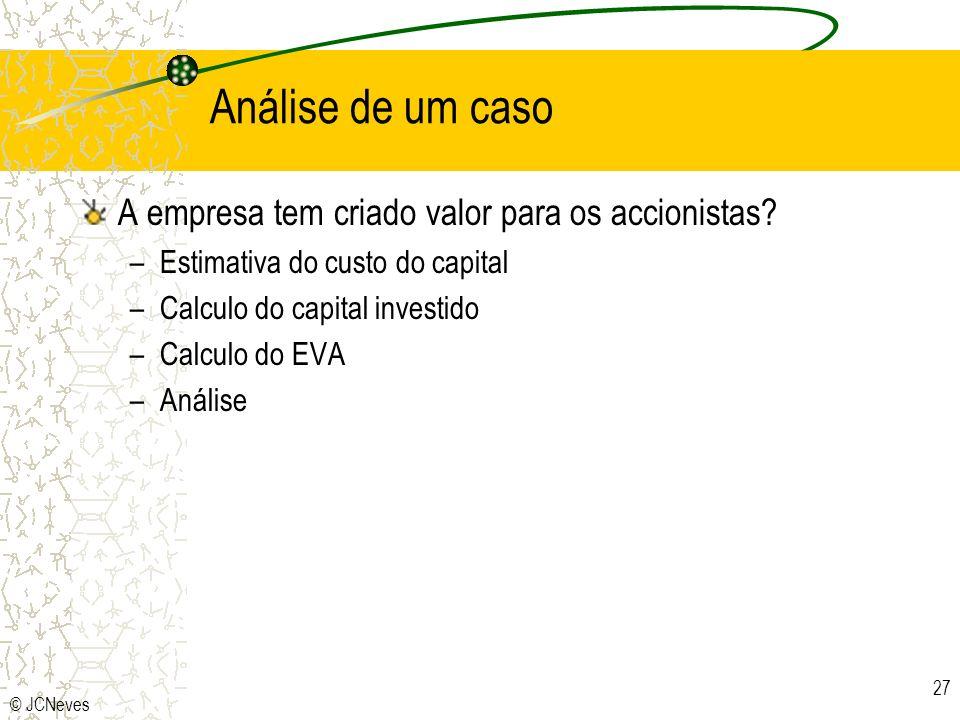 © JCNeves 27 Análise de um caso A empresa tem criado valor para os accionistas? –Estimativa do custo do capital –Calculo do capital investido –Calculo