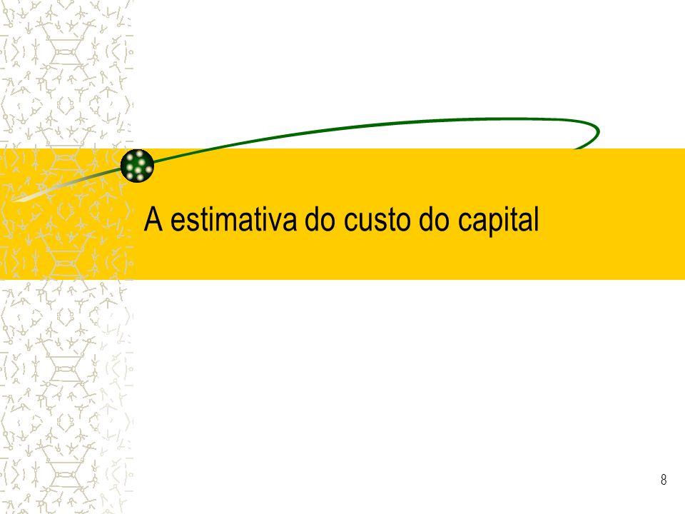 © JCNeves 19 Exemplo de estimativa do custo do capital próprio para a TAP (2001) negócio = 0,52 t = 0% CA = 990,6 m CP (inclui IM e outros ajustamentos) = 258,6 m endividado = 2,49