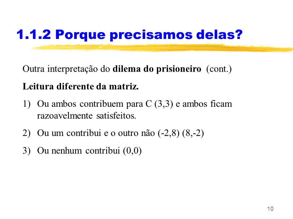 10 1.1.2 Porque precisamos delas? Outra interpretação do dilema do prisioneiro (cont.) Leitura diferente da matriz. 1)Ou ambos contribuem para C (3,3)