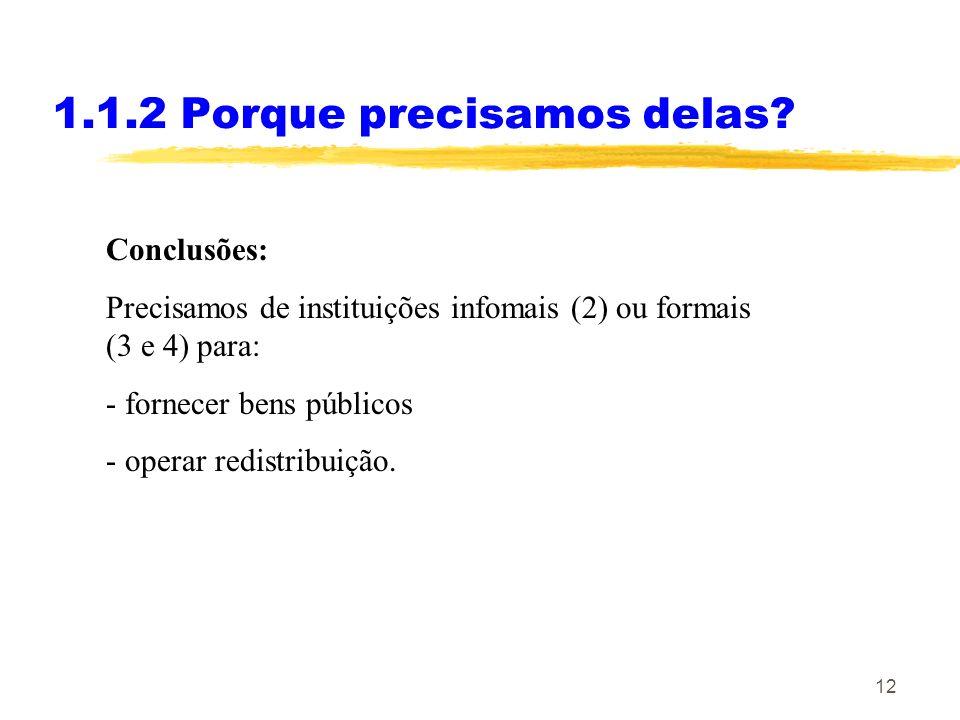 12 1.1.2 Porque precisamos delas? Conclusões: Precisamos de instituições infomais (2) ou formais (3 e 4) para: - fornecer bens públicos - operar redis