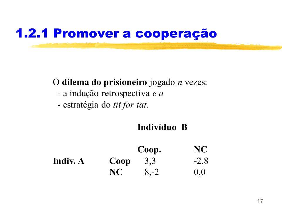 17 1.2.1 Promover a cooperação O dilema do prisioneiro jogado n vezes: - a indução retrospectiva e a - estratégia do tit for tat. Indivíduo B Coop.NC