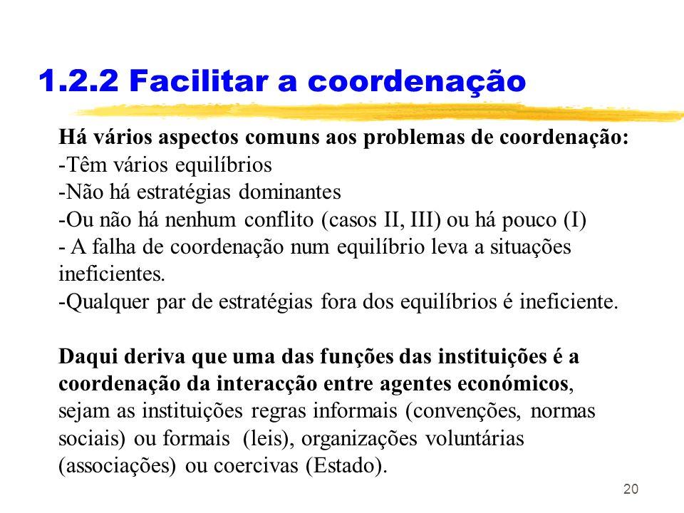 20 1.2.2 Facilitar a coordenação Há vários aspectos comuns aos problemas de coordenação: -Têm vários equilíbrios -Não há estratégias dominantes -Ou nã