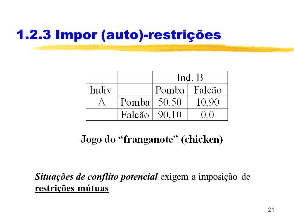21 1.2.3 Impor (auto)-restrições Situações de conflito potencial exigem a imposição de restrições mútuas
