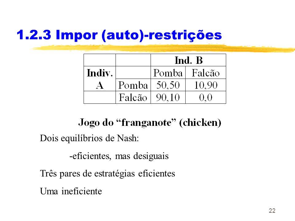 22 1.2.3 Impor (auto)-restrições Dois equilíbrios de Nash: -eficientes, mas desiguais Três pares de estratégias eficientes Uma ineficiente