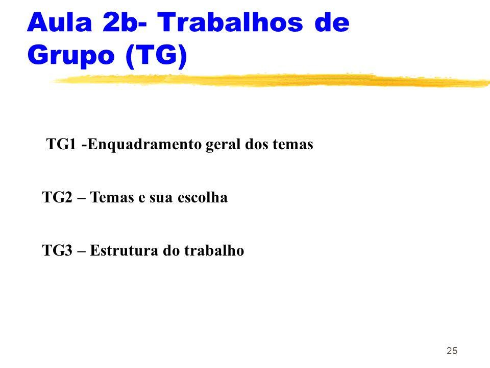 25 Aula 2b- Trabalhos de Grupo (TG) TG1 -Enquadramento geral dos temas TG2 – Temas e sua escolha TG3 – Estrutura do trabalho