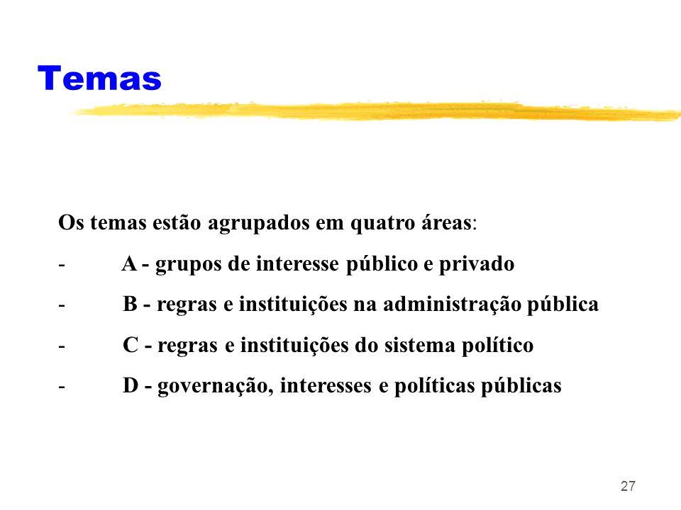 27 Temas Os temas estão agrupados em quatro áreas: - A - grupos de interesse público e privado - B - regras e instituições na administração pública -
