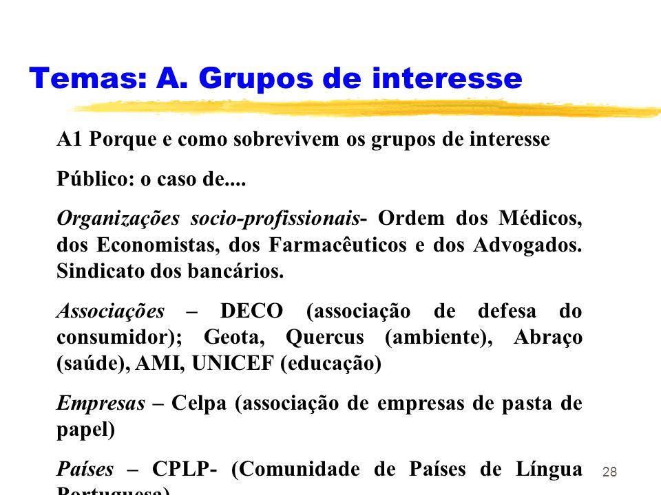 28 Temas: A. Grupos de interesse A1 Porque e como sobrevivem os grupos de interesse Público: o caso de.... Organizações socio-profissionais- Ordem dos