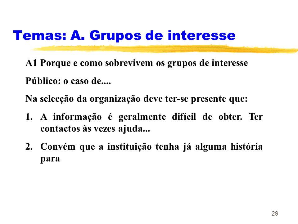 29 Temas: A. Grupos de interesse A1 Porque e como sobrevivem os grupos de interesse Público: o caso de.... Na selecção da organização deve ter-se pres