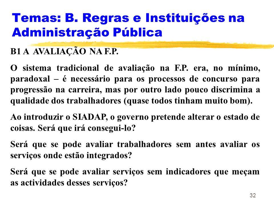 32 Temas: B. Regras e Instituições na Administração Pública B1 A AVALIAÇÃO NA F.P. O sistema tradicional de avaliação na F.P. era, no mínimo, paradoxa