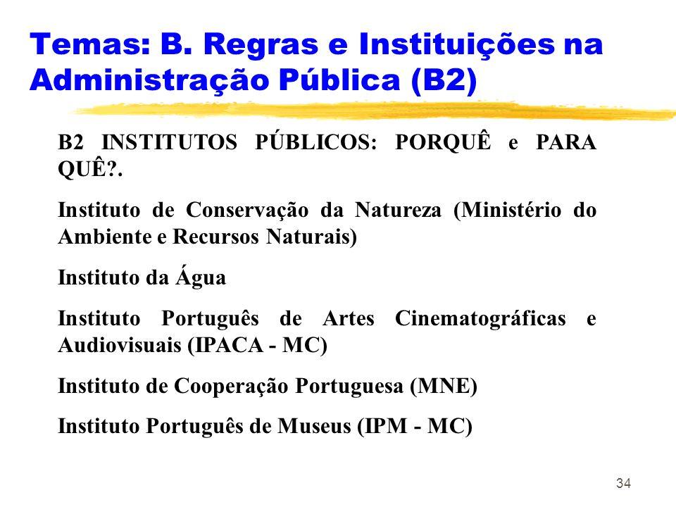 34 Temas: B. Regras e Instituições na Administração Pública (B2) B2 INSTITUTOS PÚBLICOS: PORQUÊ e PARA QUÊ?. Instituto de Conservação da Natureza (Min