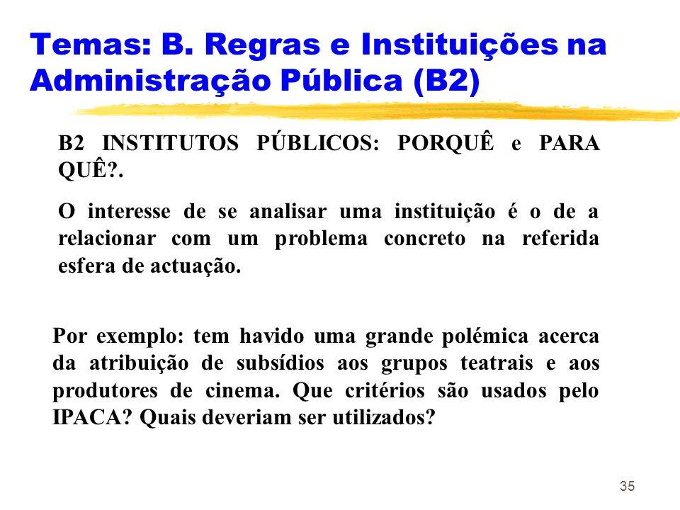 35 Temas: B. Regras e Instituições na Administração Pública (B2) B2 INSTITUTOS PÚBLICOS: PORQUÊ e PARA QUÊ?. O interesse de se analisar uma instituiçã