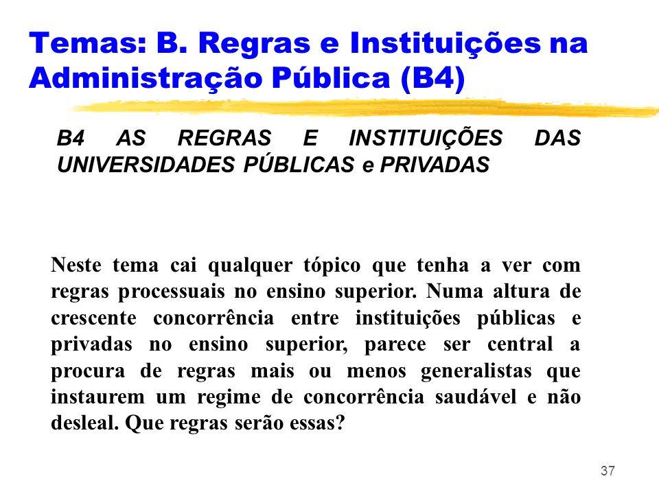 37 Temas: B. Regras e Instituições na Administração Pública (B4) B4 AS REGRAS E INSTITUIÇÕES DAS UNIVERSIDADES PÚBLICAS e PRIVADAS Neste tema cai qual