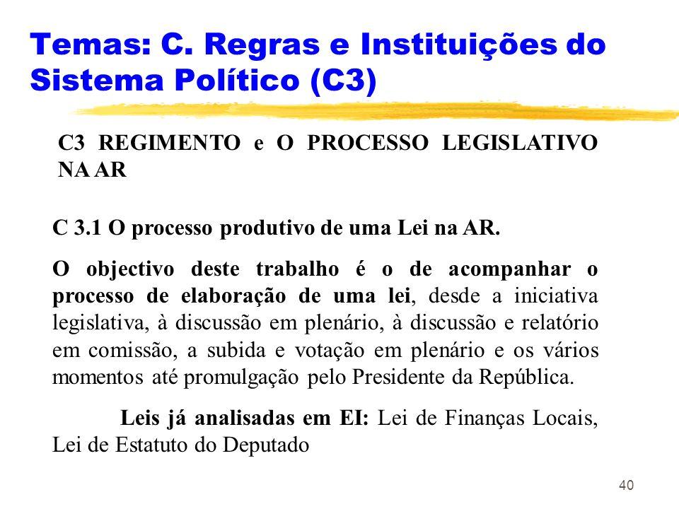 40 Temas: C. Regras e Instituições do Sistema Político (C3) C3 REGIMENTO e O PROCESSO LEGISLATIVO NA AR C 3.1 O processo produtivo de uma Lei na AR. O