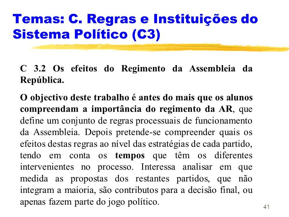 41 Temas: C. Regras e Instituições do Sistema Político (C3) C 3.2 Os efeitos do Regimento da Assembleia da República. O objectivo deste trabalho é ant